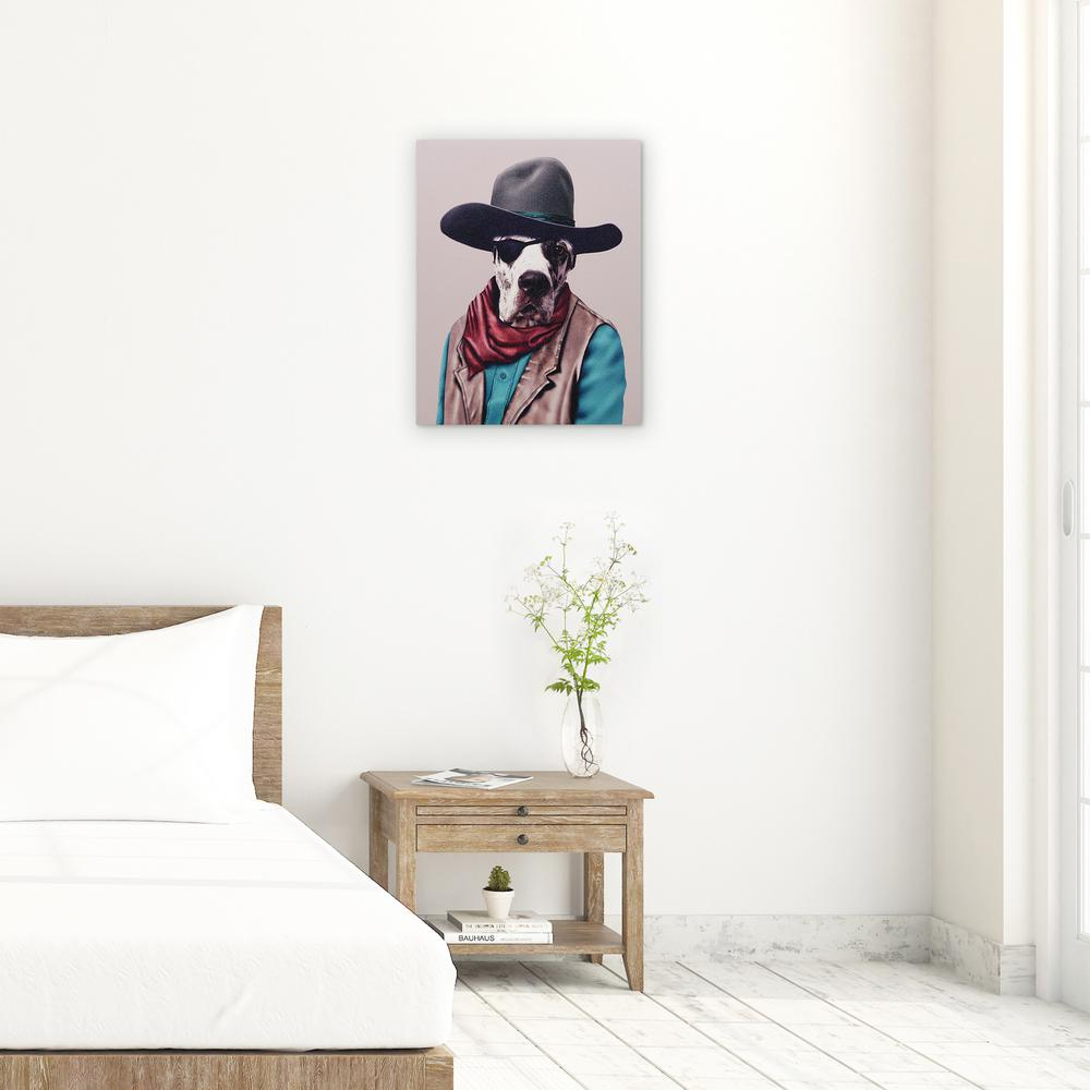 "20 in. x 16 in. Pets Rock ""Cowboy"" Graphic Art on Wrapped..."