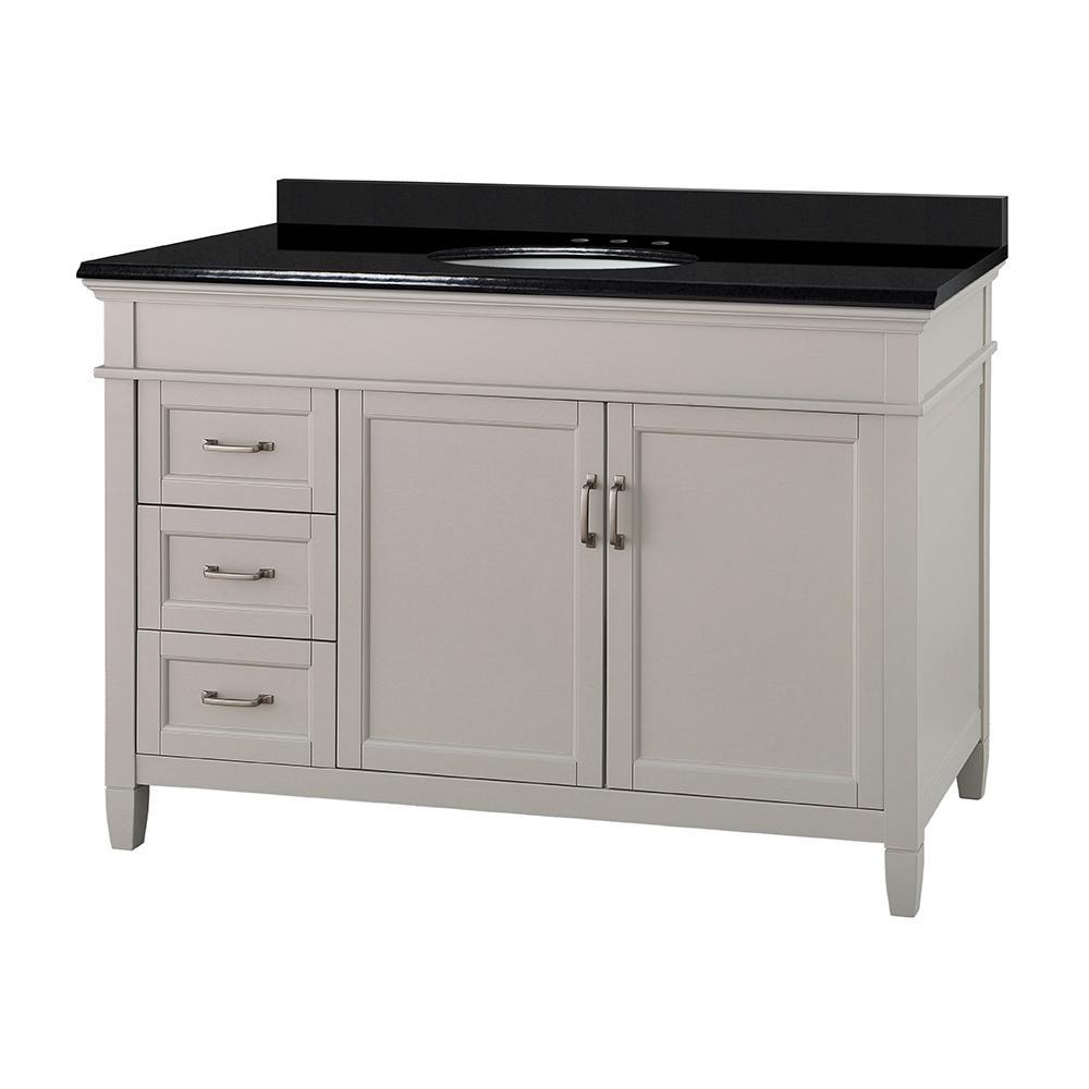 Ashburn 49 in. W x 22 in. D Bath Vanity in Grey with Granite Vanity Top in Midnight Black with Oval White Basin