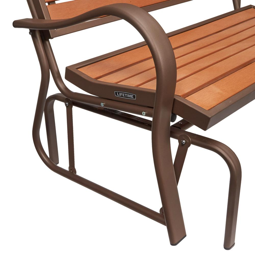 Awesome Lifetime Wood Alternative Patio Glider Bench Gmtry Best Dining Table And Chair Ideas Images Gmtryco