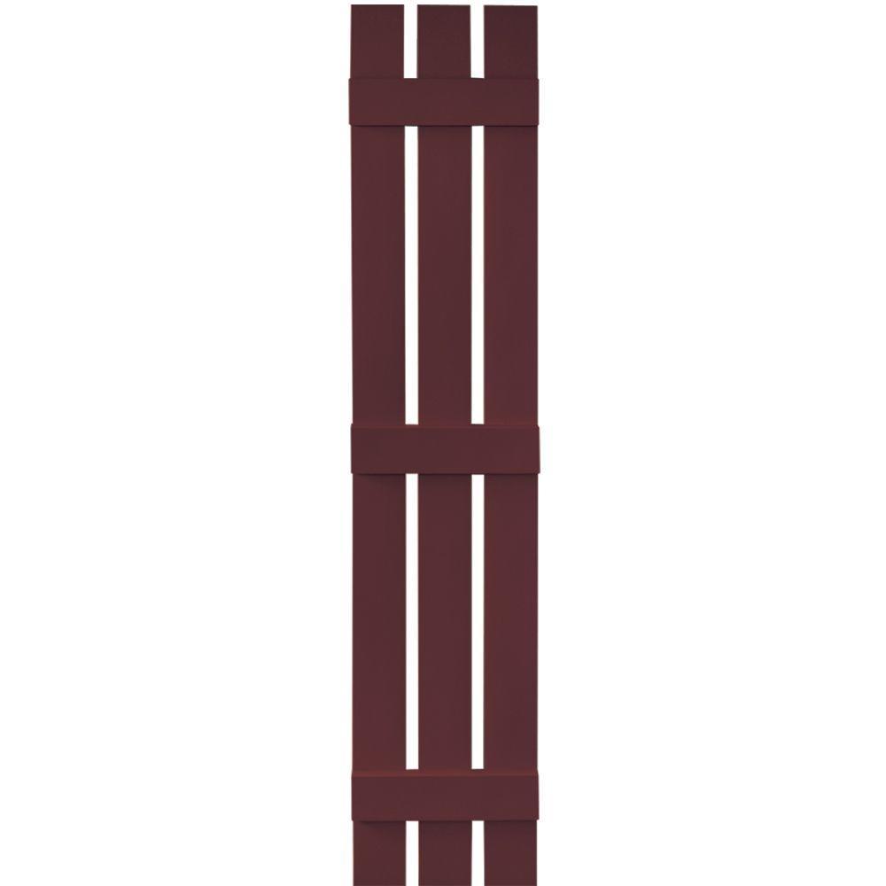 Builders Edge 12 in. x 67 in. Board-N-Batten Shutters Pair, 3 Boards Spaced #167 Bordeaux