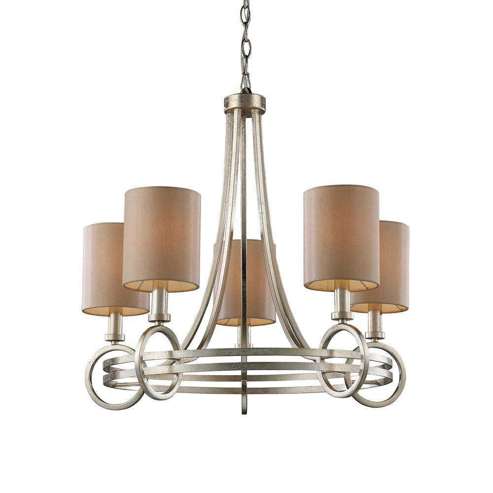 Titan Lighting New York 5-Light Renaissance Silver Ceiling Mount Chandelier