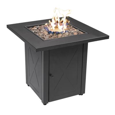 Lava Rocks 48000 BTU 28 in. Square Outdoor Dark Gery Table Top with Lid Quick Auto Ignition Propane Gas Fire Pit Table