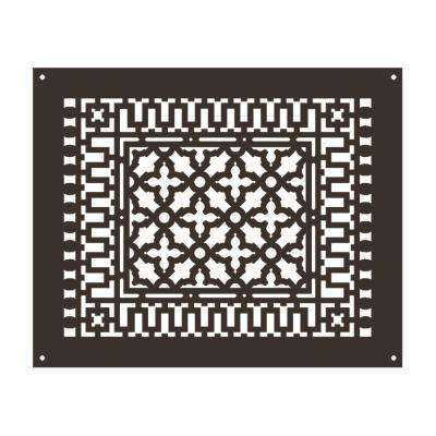 Scroll 18 in. x 14 in. Aluminum Grille with Mounting Holes, Oil Rubbed Bronze