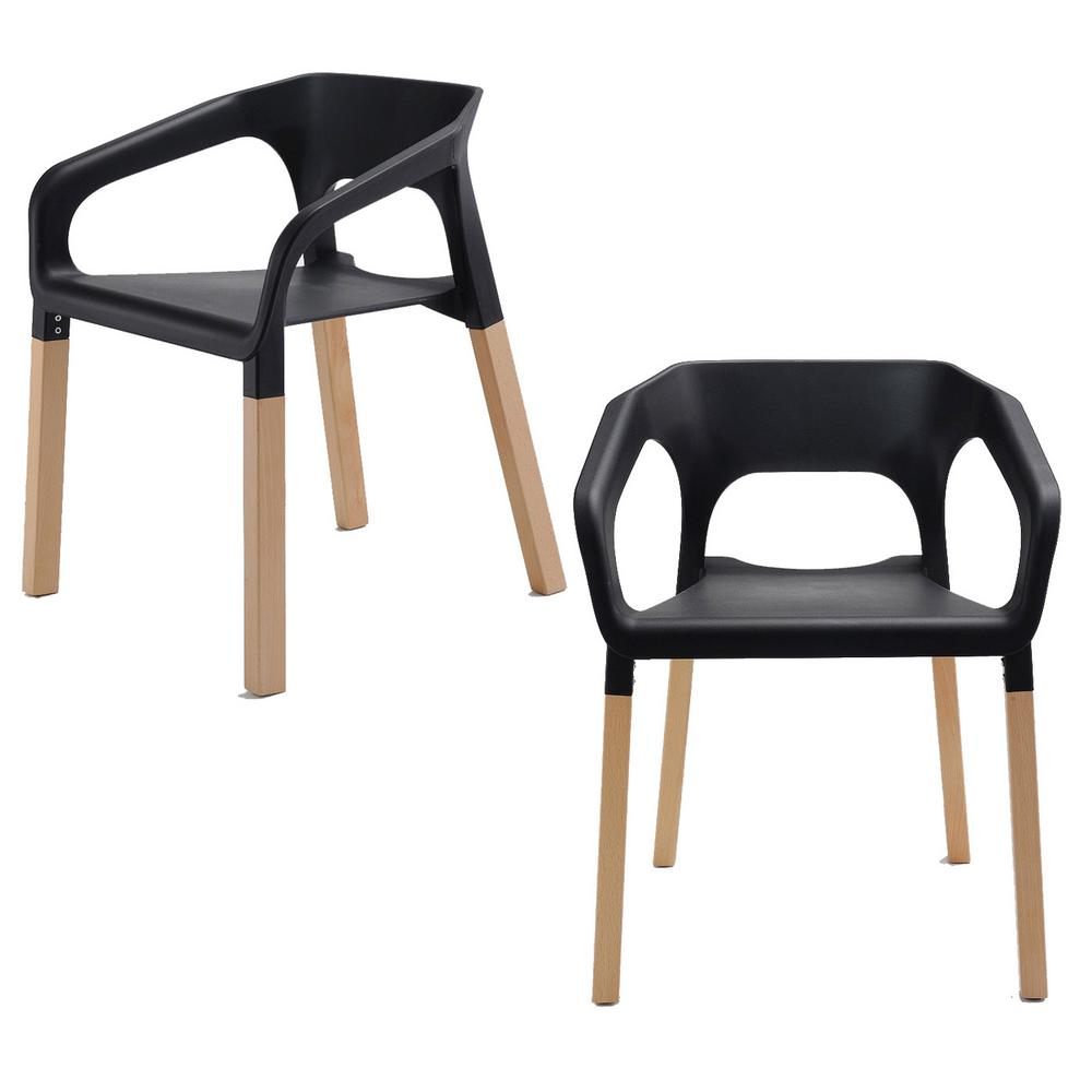 Amy Series Black Modern Accent Dining Arm Chair with Beech Wood