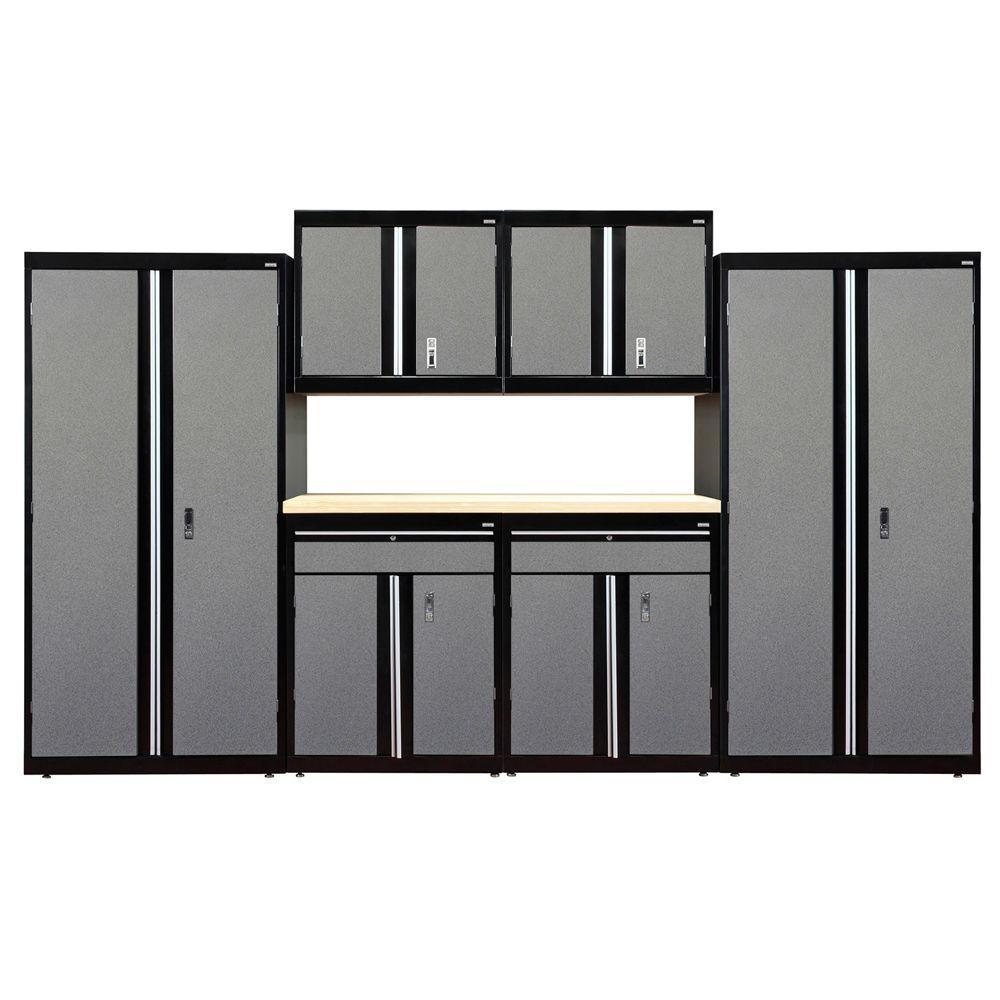 72 in. H x 144 in. W x 18 in. D Welded Steel Garage Cabinet Set in Black/Multi-Granite (7-Piece)