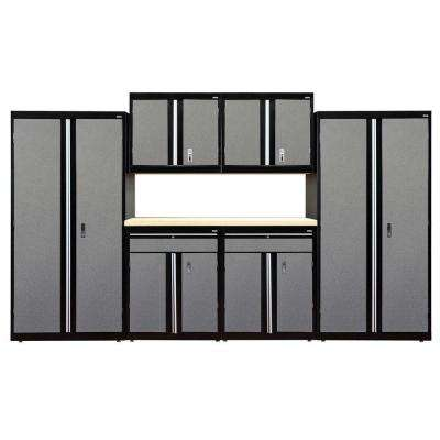 72 in. H x 144 in. W x 18 in. D Welded Steel Garage Cabinet Set in Black/Multi-Granite (7-Piece)