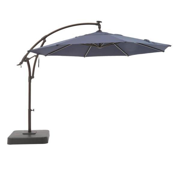 11 ft. Aluminum Cantilever Solar LED Offset Outdoor Patio Umbrella in Midnight Navy Blue