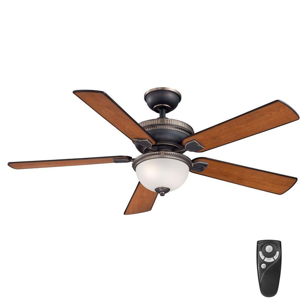 Home Decorators Collection Colbert 52 in. Indoor Tarnished Bronze Ceiling Fan with Light Kit and Remote Control