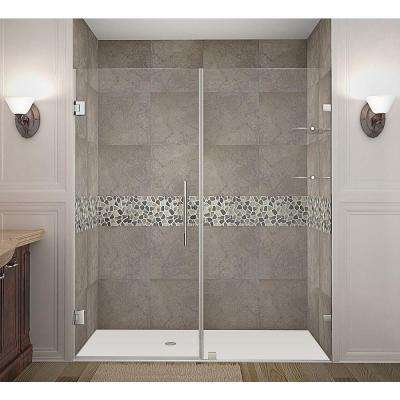 Nautis GS 70 in. x 72 in. Completely Frameless Hinged Shower Door with Glass Shelves in Stainless Steel