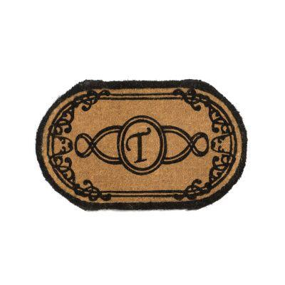 Perfect Home Lexington Oval Monogram Mat 30 in. x 48 in. x 1.5 in. Monogram T-DISCONTINUED
