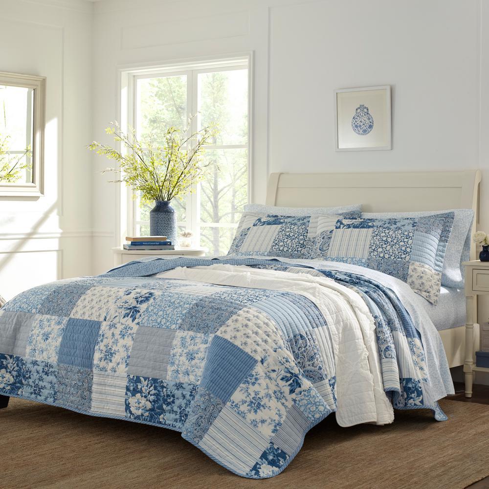 Paisley Patchwork 3-Piece Blue Full/Queen Cotton Quilt Set