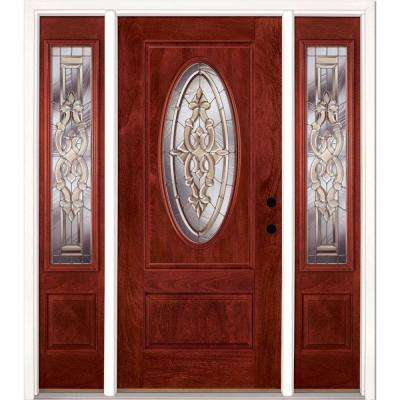 67.5 in.x81.625in.Silverdale Zinc 3/4 Oval Lt Stained Cherry Mahogany Left-Hd Fiberglass Prehung Front Door w/ Sidelites