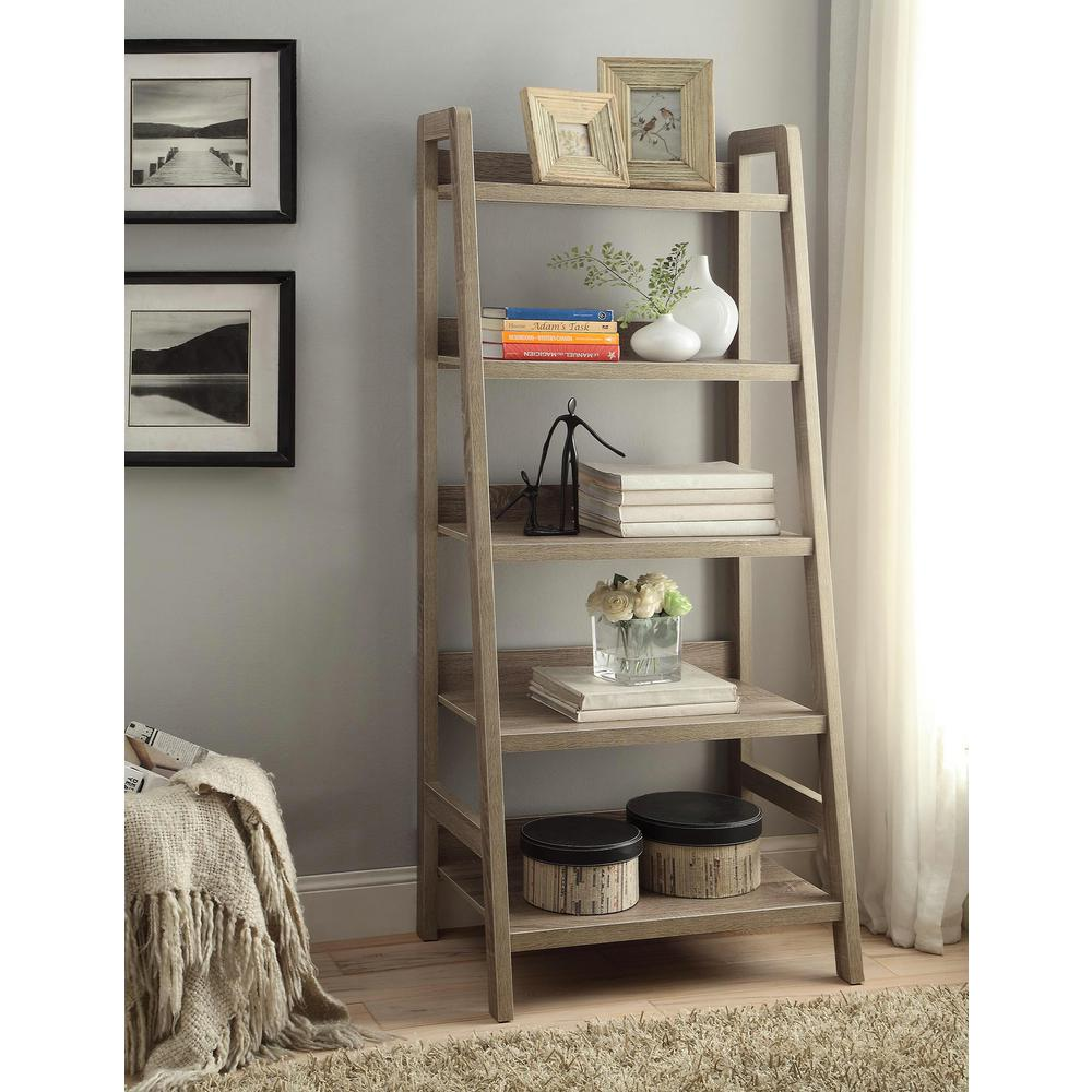 Shelves For Home Decor Ideas: Linon Home Decor Tracey Gray Ladder Bookcase-69336GRY01U