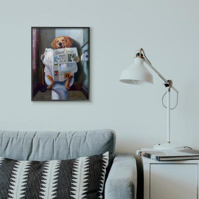 """16 in. x 20 in. """"Dog Reading the Newspaper On Toilet Funny Painting"""" by Artist Lucia Heffernan Framed Wall Art"""