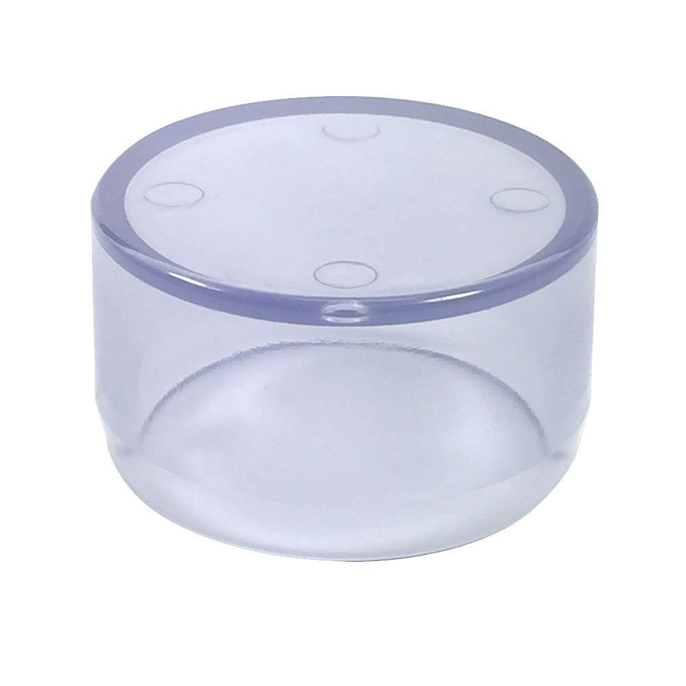 1 in. Furniture Grade PVC External Flat End Cap in Clear