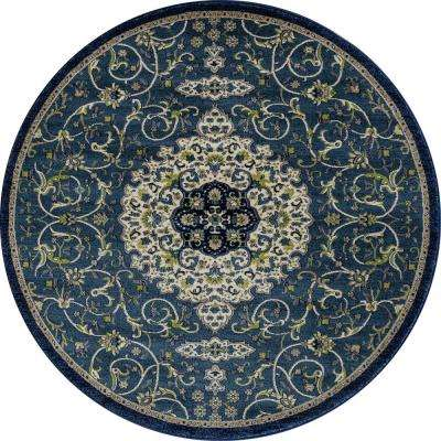 Dexter Calligraphy Peacock blue 5 ft. x 5 ft. Round Area Rug
