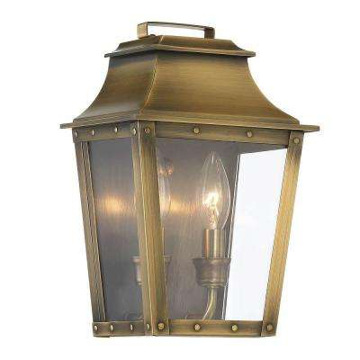 Coventry Collection 2-Light Aged Brass Outdoor Wall Lantern