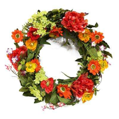 22 in. Wreath with Peony and Chrysanthemum Wreath