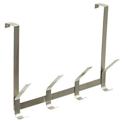 Clean Lines 18 in. Satin Nickel Decorative Over-the-Door Hook Rack