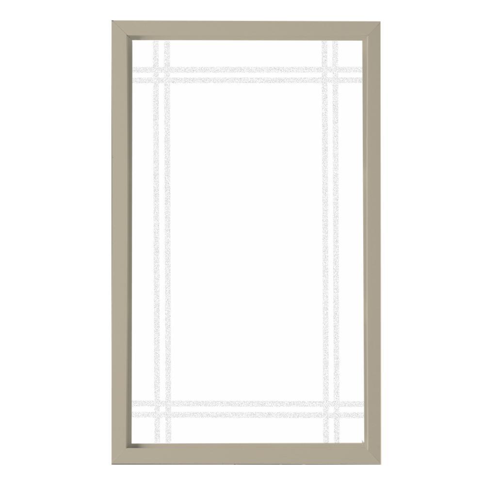 35.5 in. x 59.5 in. Prairie Decorative Glass Picture Vinyl Window - Tan
