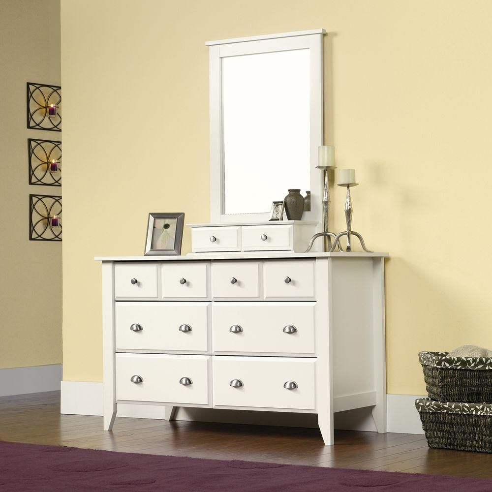 SAUDER Shoal Creek Collection 42.3 in H x 27.48 in. W White Framed Mirror with Storage Drawers