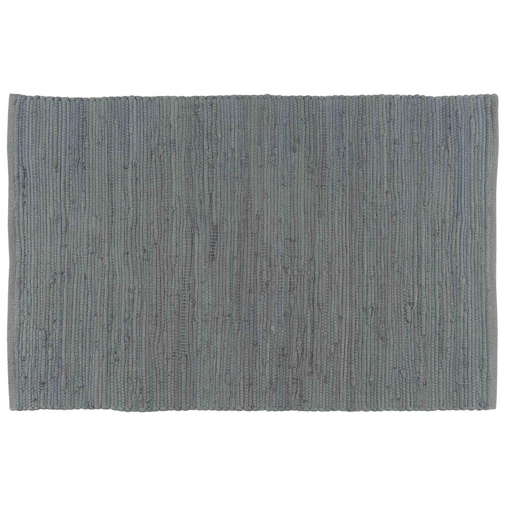 Chindi Solid Grey 24 in. x 36 in. Woven Mat