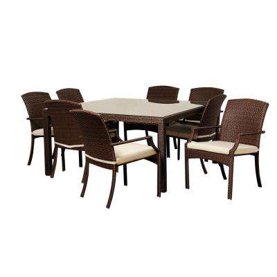 Rolland 9-Piece Wicker Outdoor Dining Set with Beige Cushions
