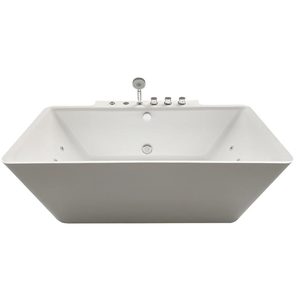Catania 68 in. Acrylic Flatbottom Whirlpool Bathtub in White