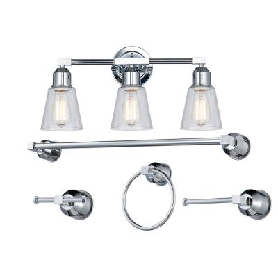 3-Light Polished Chrome Vanity Light Set with Seeded Glass Shades
