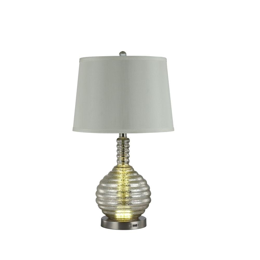 Phoebe 20 in. Silver Table Lamp with Emergency Backup Function