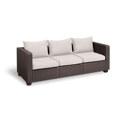 Salta Brown Resin 3-Seat Plastic Outdoor Sofa with Canvas Cushions