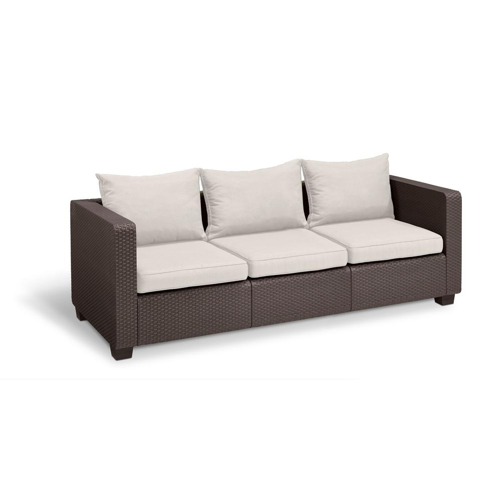 Keter Salta Brown Resin 3 Seat Plastic Outdoor Sofa With Canvas