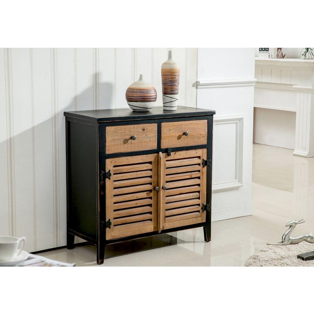 Marvelous Worldwide Homefurnishings Rustic Pine And Black Storage Cabinet
