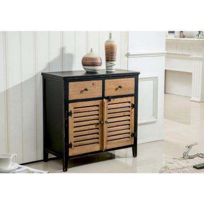 Rustic Pine and Black Storage Cabinet