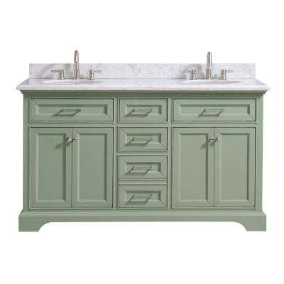 Windlowe 61 in. W x 22 in. D x 35 in. H Bath Vanity in Green  with Carrera Marble Vanity Top in White  with White Basin