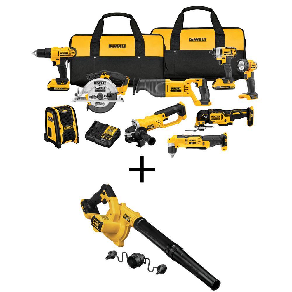 DEWALT 20-Volt MAX Li-Ion Cordless Combo Kit (9 tool) w/ Bonus 20-Volt MAX Li-Ion Cordless Blower (Tool-Only)