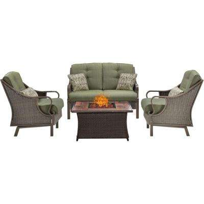 Ventura 4-Piece All-Weather Wicker Patio Conversation Set with Wood Grain-Top Fire Pit with Vintage Meadow Cushions