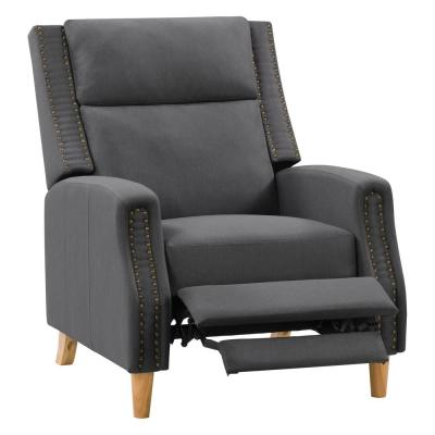 Recliner Chair with Extending Foot Rest and Nailhead Trim Accents, Dark Grey Fabric