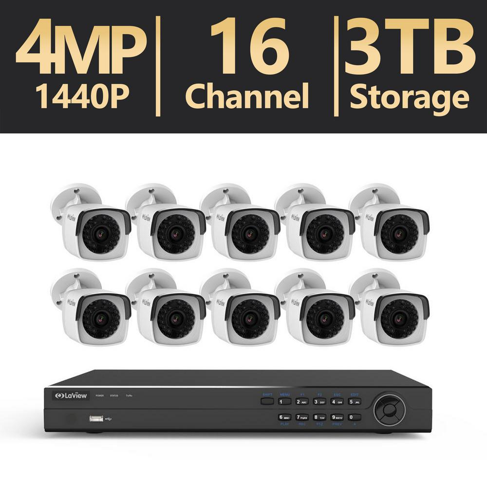 16-Channel 4MP 3TB IP NVR Surveillance System (10) 4MP Bullet Cameras