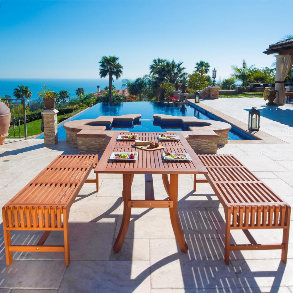 Malibu 3-Piece Wood Rectangular Outdoor Dining Set