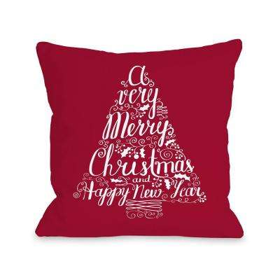 Typography Tree RedWhite 16 in. x 16 in. Decorative Pillow