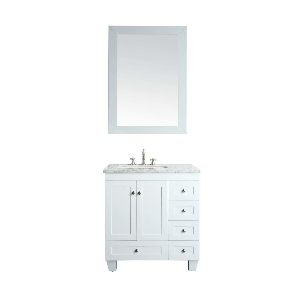 Eviva Acclaim 30.5 in. W x 22 in. D x 34 in. H Vanity in White with Carrera Marble Vanity Top in White with White Basin