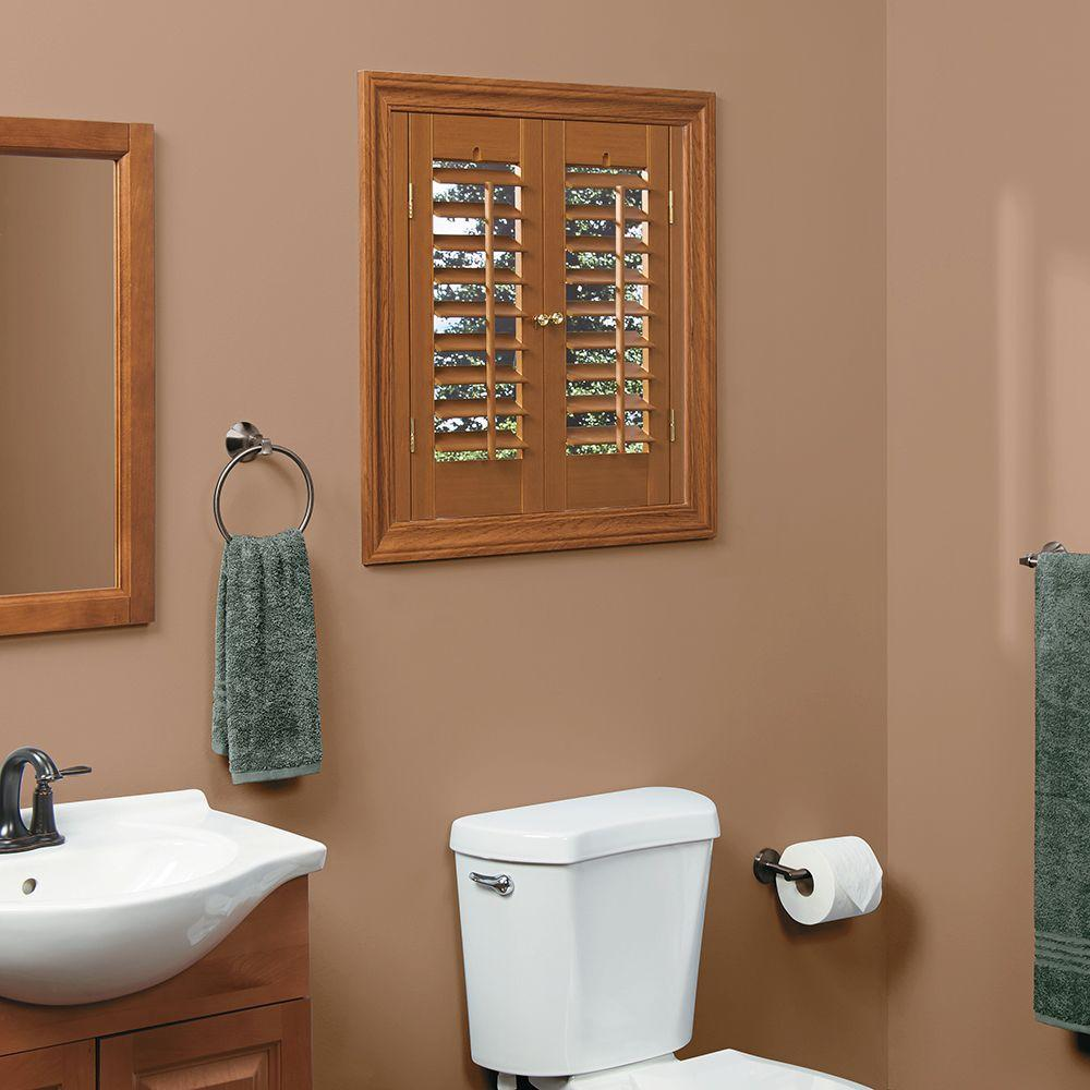 HOME basics Plantation Faux Wood Oak Interior Shutter (Price Varies by Size)