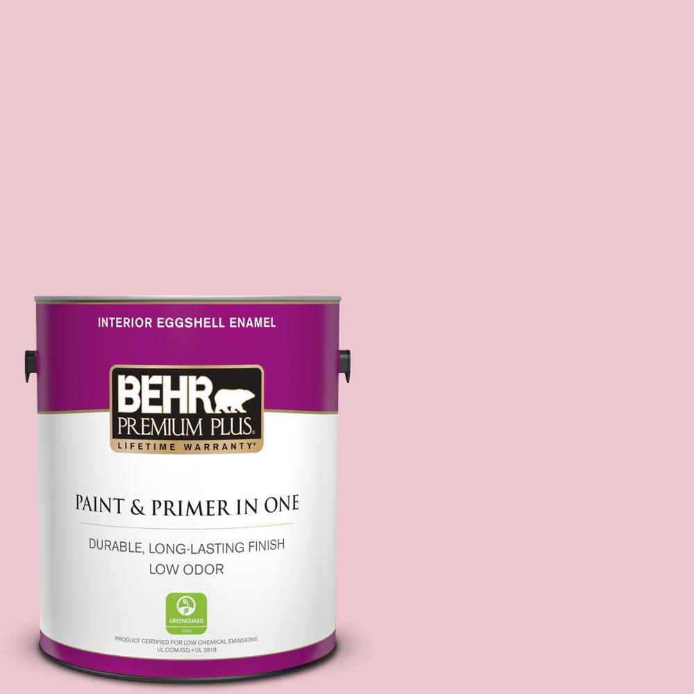 BEHR Premium Plus 1 gal. #M140-2 Funny Face Eggshell Enamel Low Odor Interior Paint and Primer in One For tough, all-purpose paint with a touch of style, choose BEHR PREMIUM PLUS Low Odor, Paint & Primer in One Eggshell Enamel Interior paint. This soft, subtle sheen resists dirt and grime, so it's perfect for all of your home's busiest rooms. The soft, velvety, reflective appearance will also brighten up your hallways. Color: Funny Face.