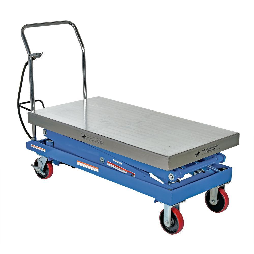 1,500 lbs. 24 in. x 47.5 in. Hydraulic Steel Cart