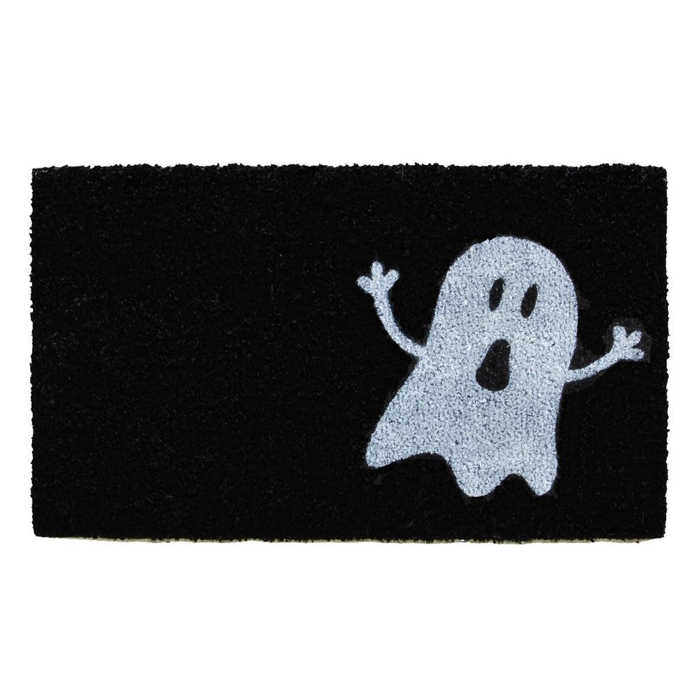 Black/White Ghost 17 in. x 29 in. Coir Door Mat