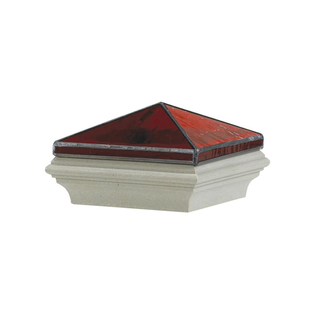 5 in. x 5 in. Composite Pyramid Jewel Garnet Post Cap