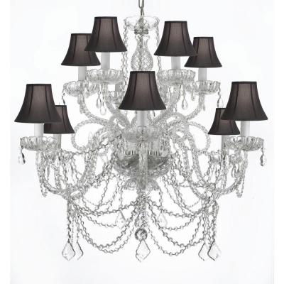 Venetian Style 12-Light Crystal Chandelier with Black Shades