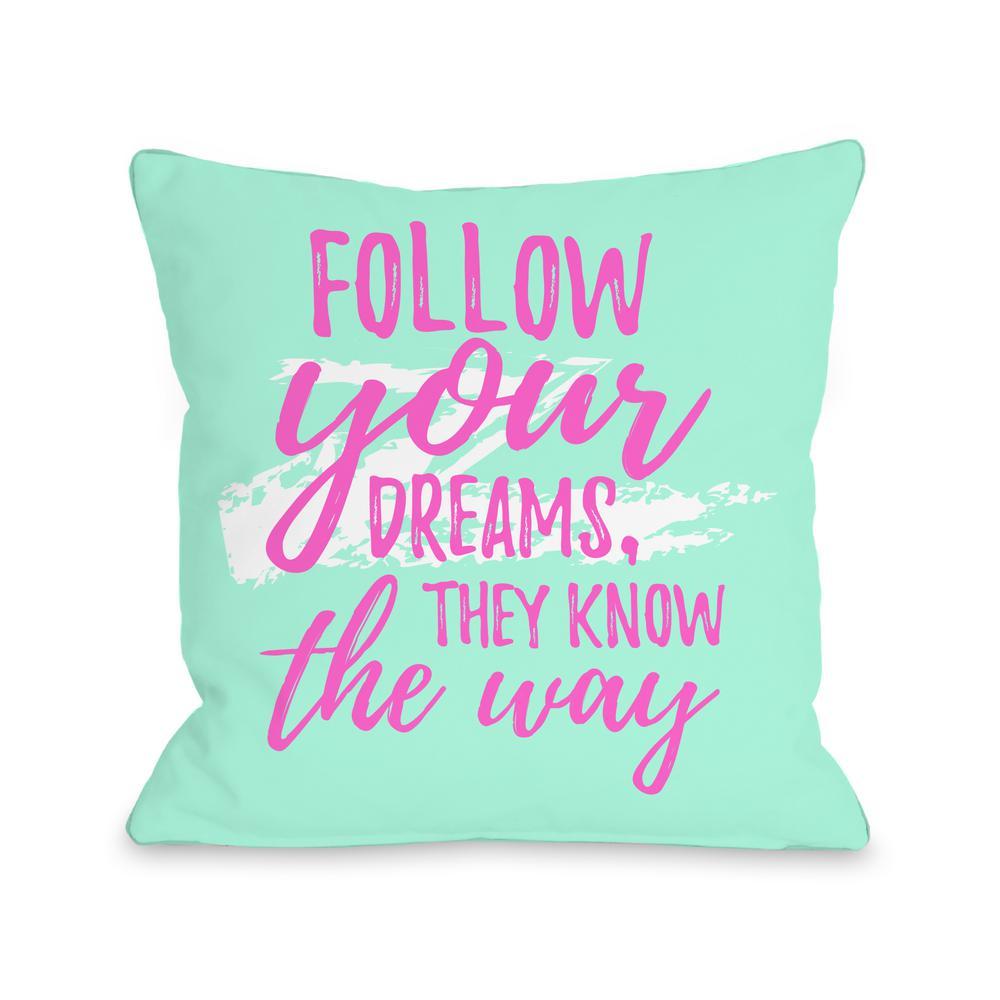 Follow Your Dreams Swipe 16 in. x 16 in. Decorative Pillow