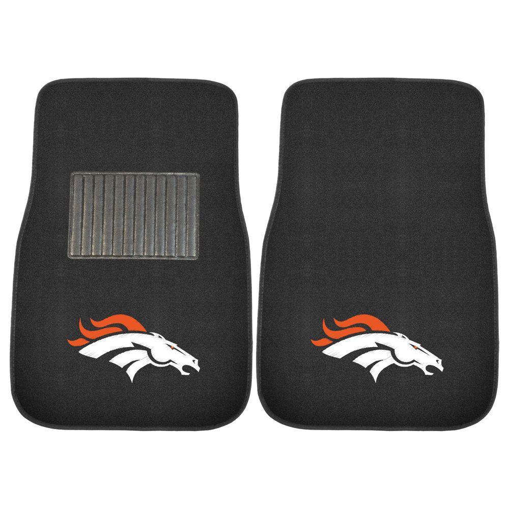 NFL Denver Broncos 2-Piece 17 in. x 25.5 in. Carpet Embroidered Car Mat